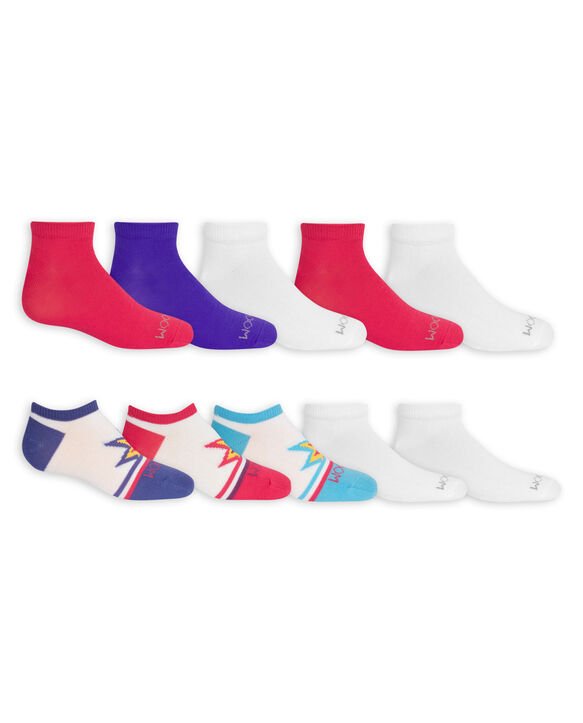 Girls' Lightweight No Show Socks, 10 Pack WHITE/BLUE, WHITE, WHITE/PURPLE, WHITE/PINK, PINK, BLUE, PURPLE