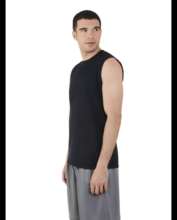 Big Men's Dual Defense UPF Sleeveless Muscle Shirt Black