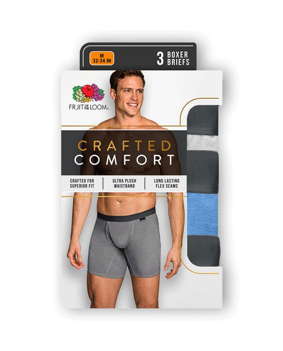Men's Crafted Comfort Assorted Boxer Brief, 3 Pack, Extended Sizes Assorted Color