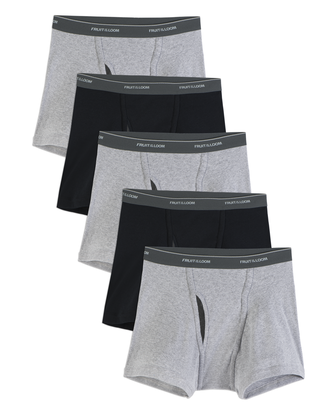 Men's CoolZone Fly Black and Gray Short Leg Boxer Briefs, 5 Pack