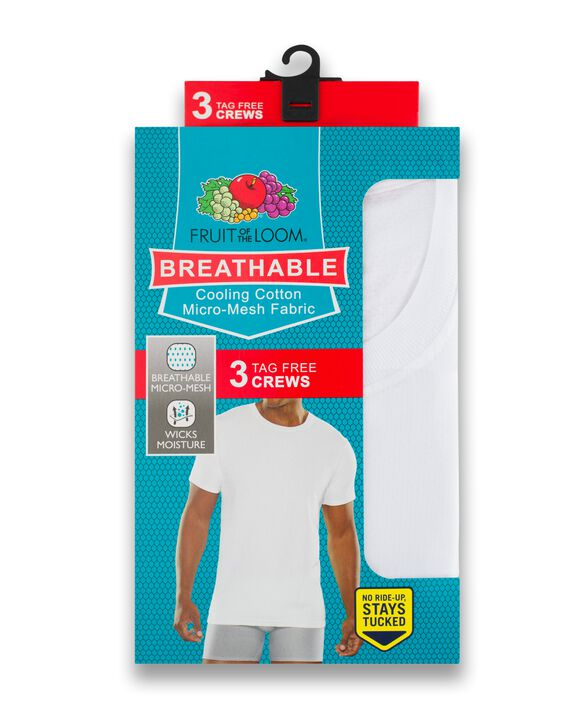 Men's Breathable Crew Neck T-Shirts, 3 Pack, Size 2XL White