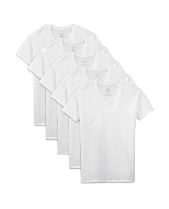 Men's Short Sleeve White V-Neck T-Shirts, Extended Sizes, 5 Pack White