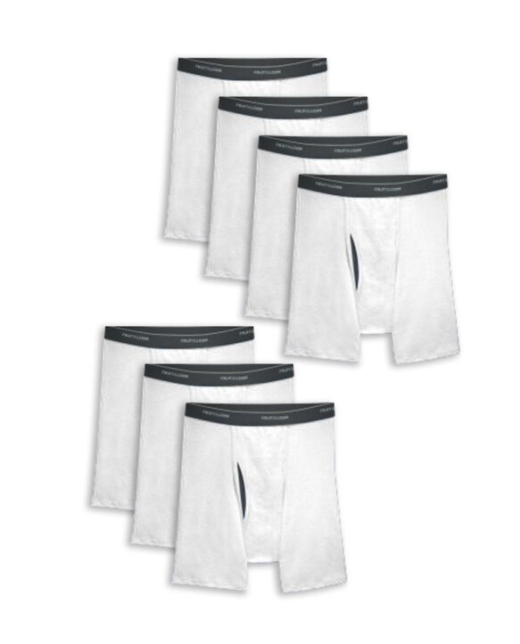 Men's CoolZone® Fly White Boxer Briefs, 7 Pack WHITE