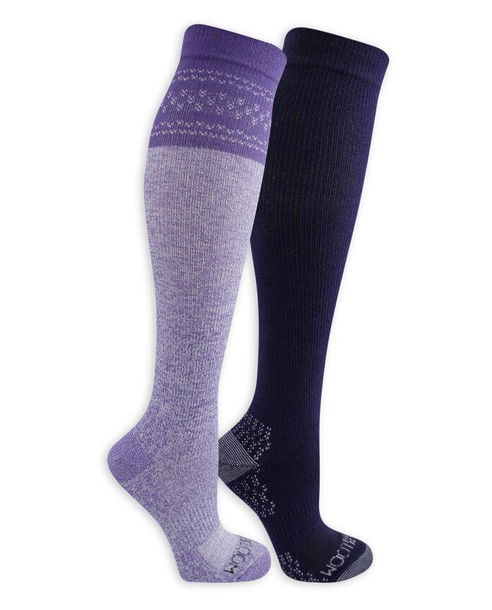 Women's On Her Feet Lightweight Compression Knee High Socks, 2 Pack, Size 4-10 PURPLE, NAVY