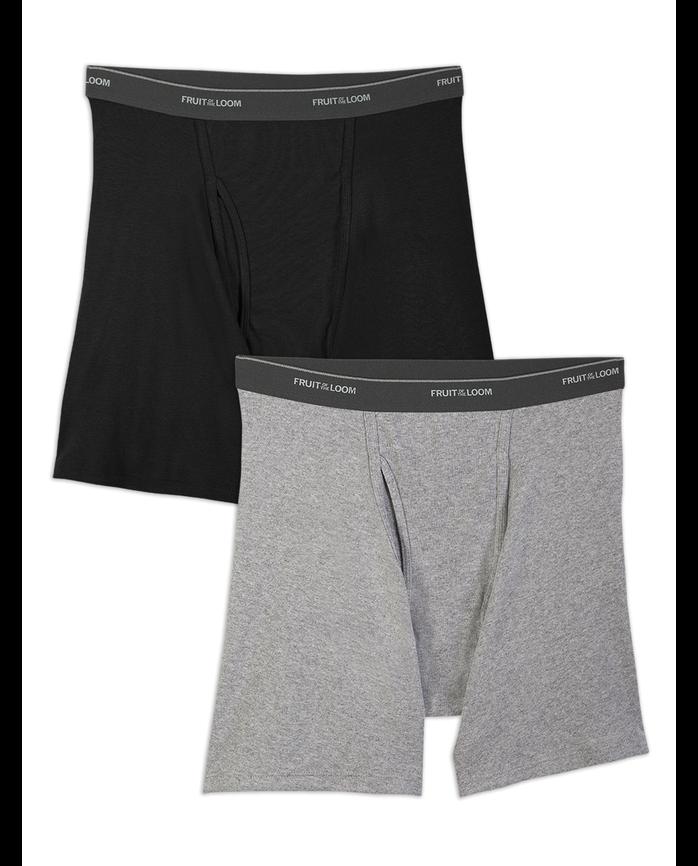 Men's Big and Tall Black/Gray Boxer Brief, 2 Pack Black/Grey