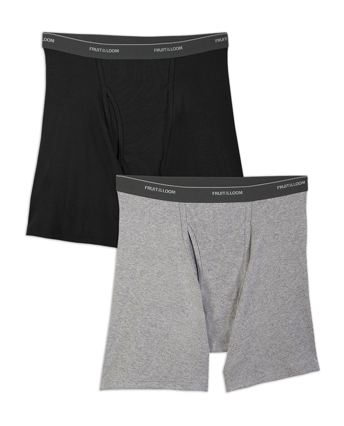 Men's Big and Tall Black/Gray Boxer Brief, 2 Pack