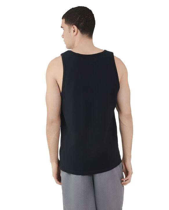 Big Men's Dual Defense UPF Sleeveless Tank Top Black