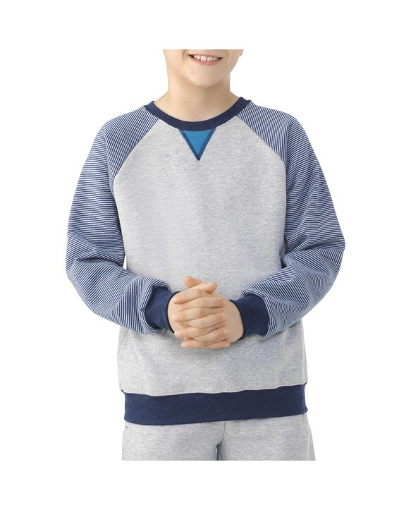 Boys' Fleece Raglan Crewneck Sweatshirt, 1 Pack  Athletic heather / Smoke blue stripe / T.blue heather / Teal
