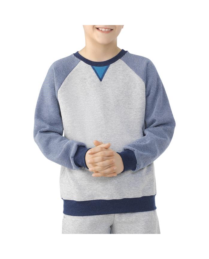 Boys' Fleece Raglan Crewneck Sweatshirt, 1 Pack  Athletic heather / Smoke blue stripe / T.blue heather / Teal