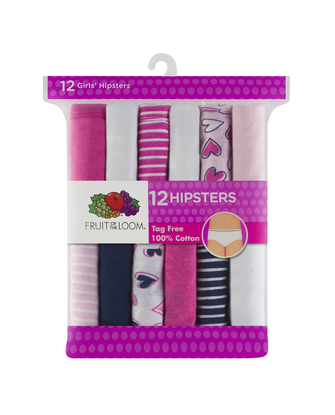 Girls' Assorted Color Hipster, 12 Pack