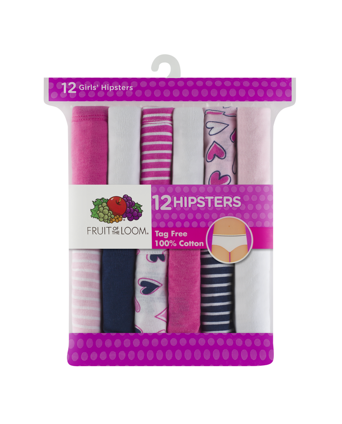 Girls' Assorted Color Hipster, 12 Pack Assorted Print and Color