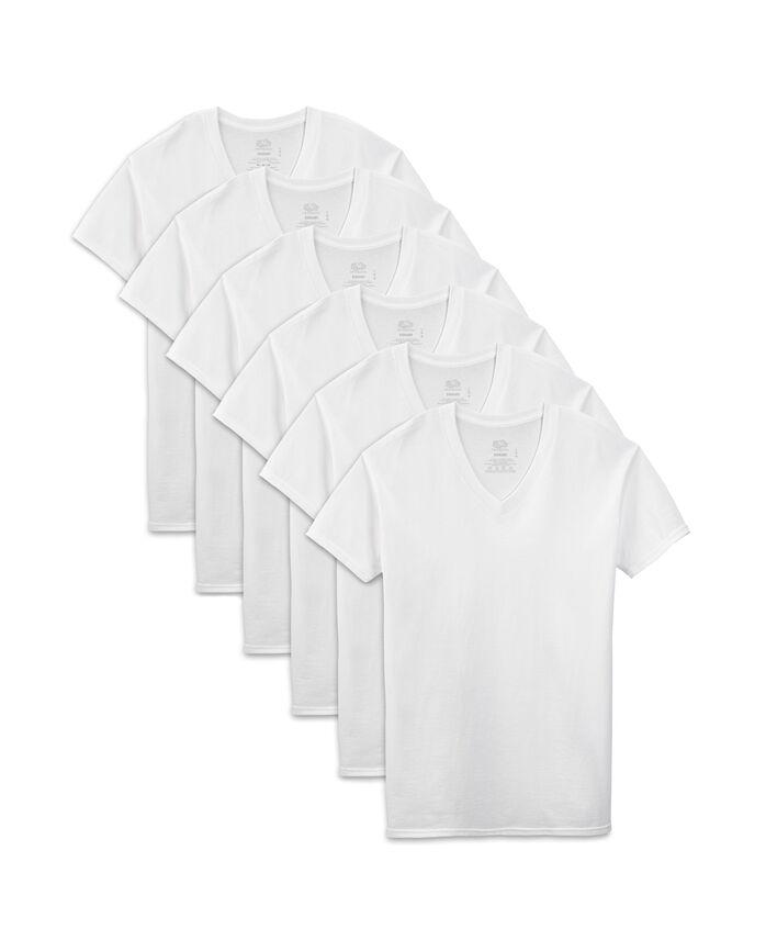 Men's Dual Defense White V-Neck T-Shirts, 6 Pack