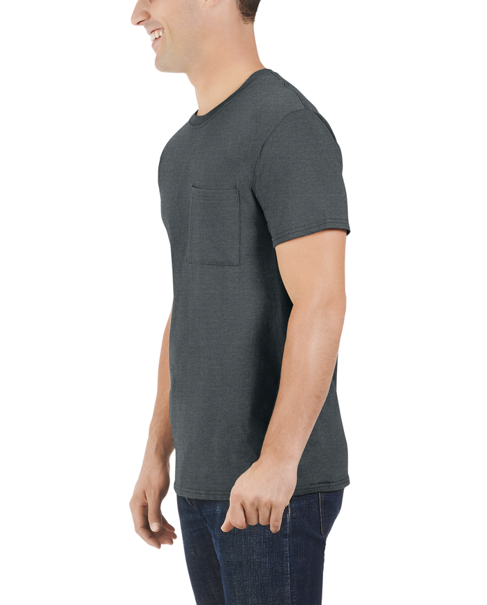 Men's Dual Defense UPF Short Sleeve Pocket T-Shirt, 1 Pack Charcoal Heather