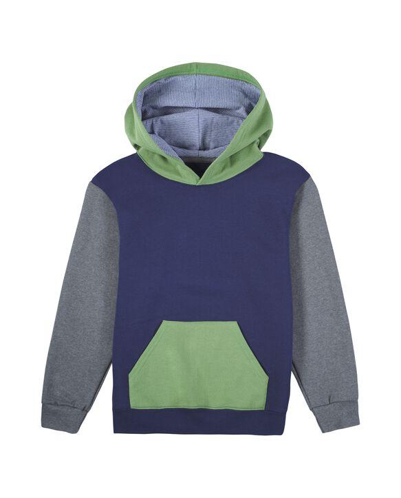 Boys' Fleece Hoodie Sweatshirt, 1 Pack Green/Navy