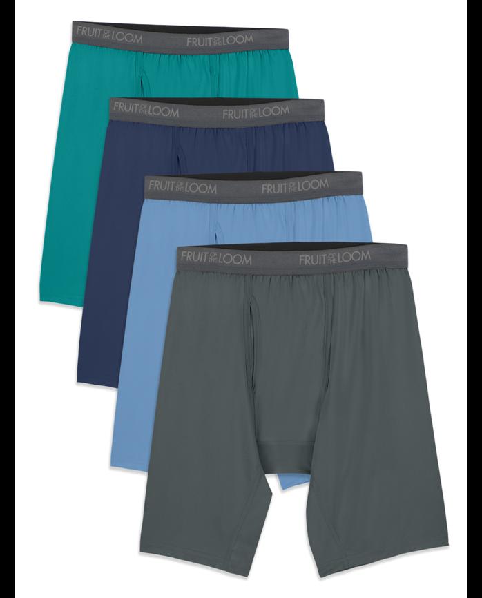 Men's Micro-Stretch Assorted Long Leg Boxer Briefs, 4 Pack, Size 2XL
