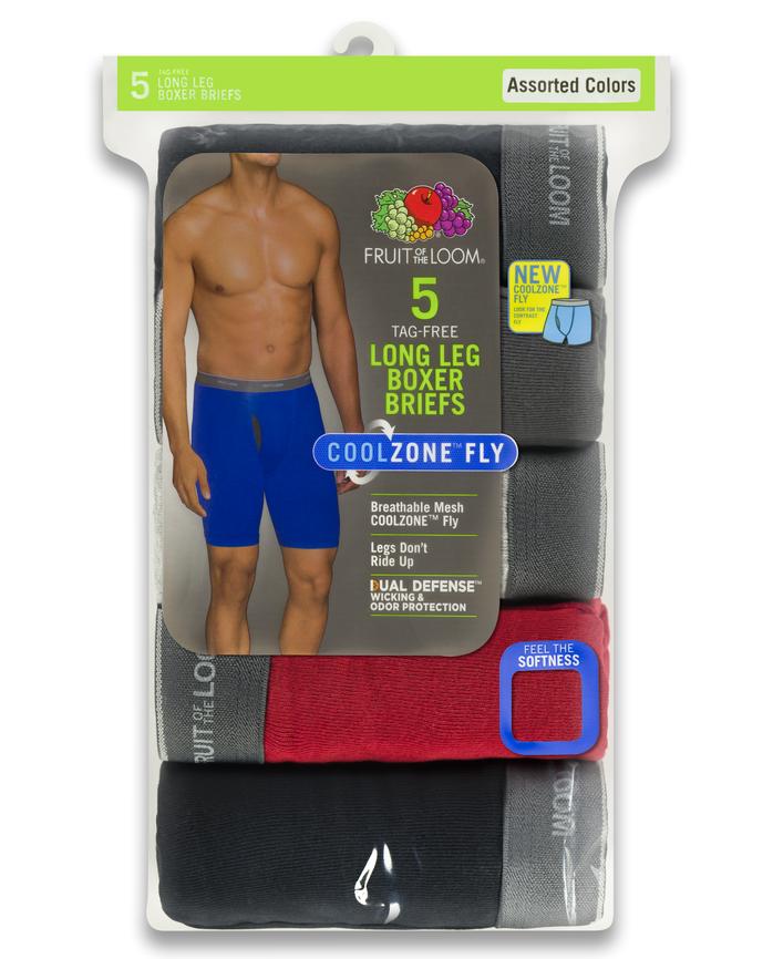 Men's COOLZONE Assorted Long Leg Leg Boxer Briefs, 5 Pack ASSORTED