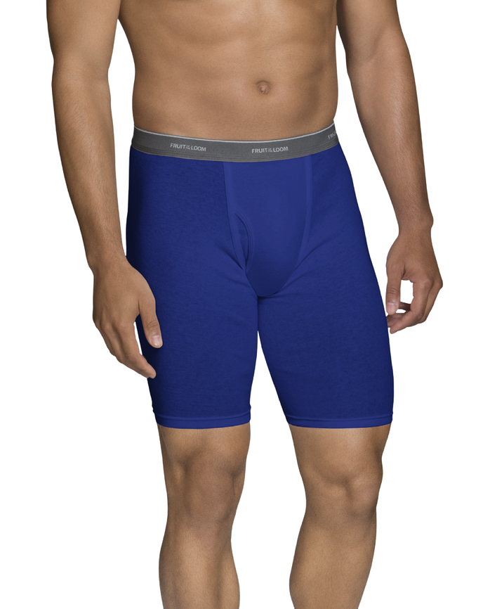 Men's CoolZone Fly Assorted Long Leg Boxer Briefs, Extended Sizes, 4 Pack Assorted