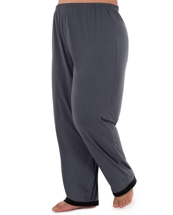 Women's Fit For Me By Fruit of The Loom Plus Size V-neck Pajama Set MONUMENT