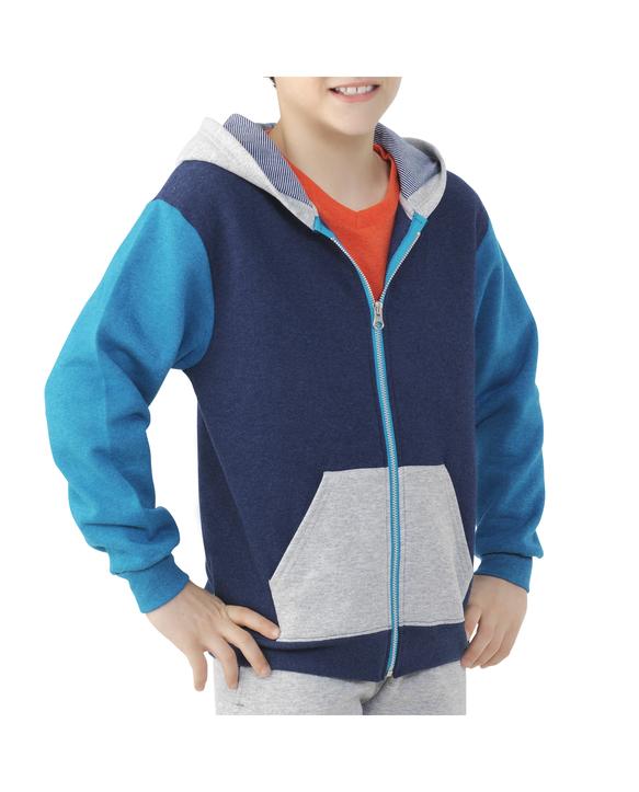 Boys' Fleece Full Zip Hoodie, 1 Pack Blue Heather