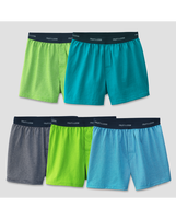 Fruit of the Loom Boys' Solid/Stripe Knit Boxer, 5 pack Assorted