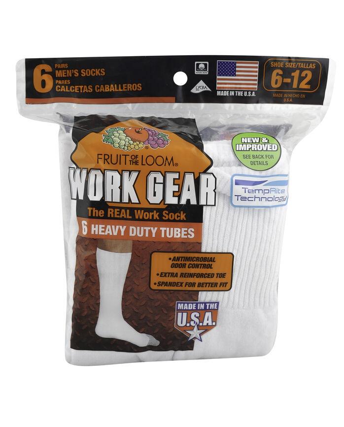Men's Work Gear Tube Socks, 10 Pack, Size 6-12 WHITE/BLACK