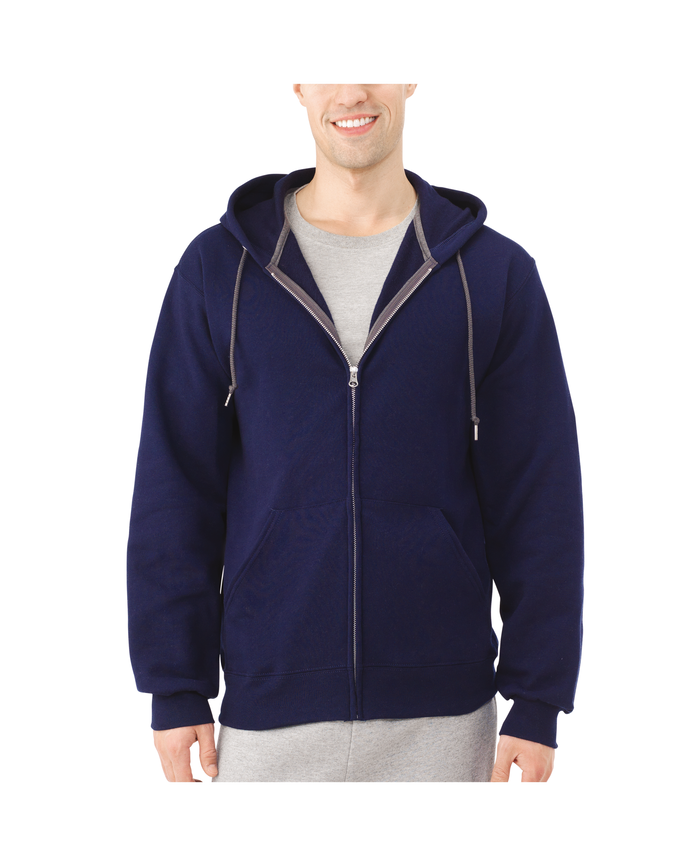 Men's Dual Defense EverSoft Fleece Full Zip Hooded Sweatshirt, 1 Pack, Extended Sizes J.Navy