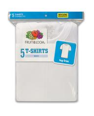 Boys' White Crew Neck T-Shirts, 5 Pack White