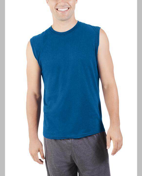 Men's Dual Defense UPF Sleeveless Muscle Shirt Blue Shadow