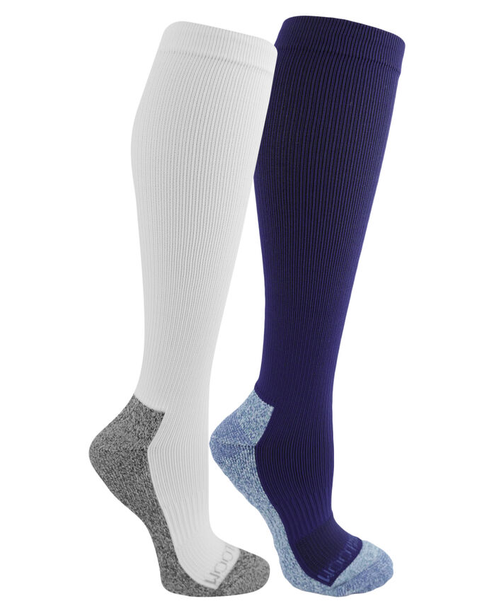 Women's On Her Feet Zoned Cushion Compression Knee High Socks, 2 Pack, Size 4-10 BLUE, WHITE