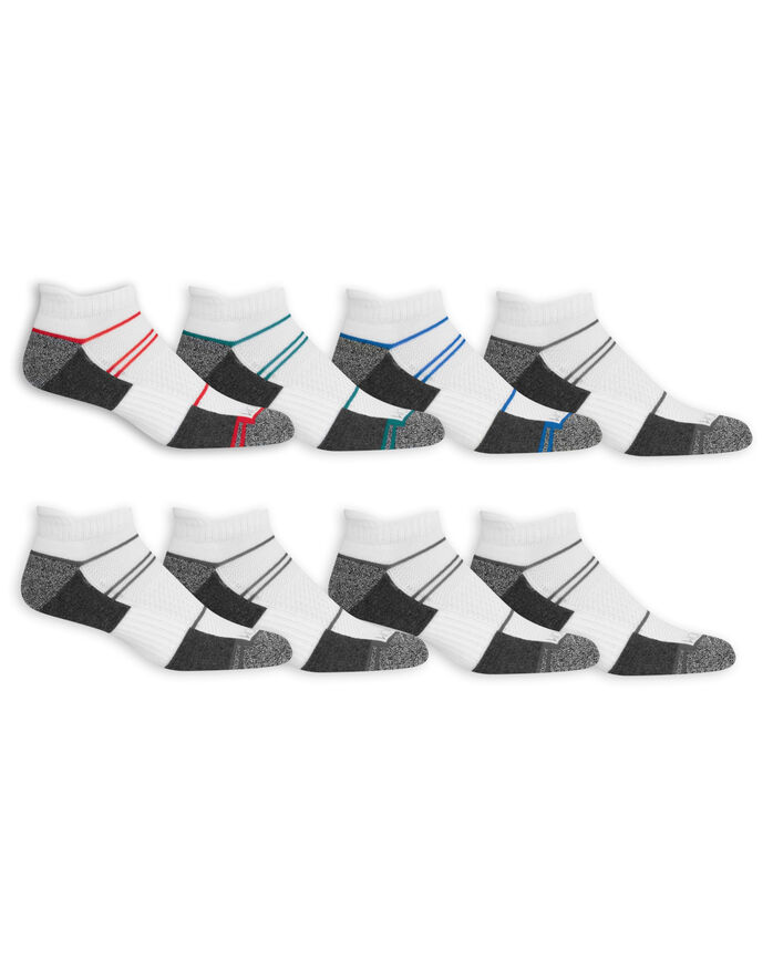 Men's Breathable Low Cut Socks, 8 Pack, Size 6-12 WHITE/GREY