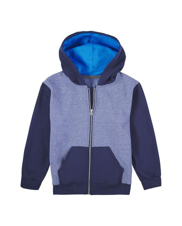 Boys' Fleece Full Zip Hoodie, 1 Pack Blue Stripe