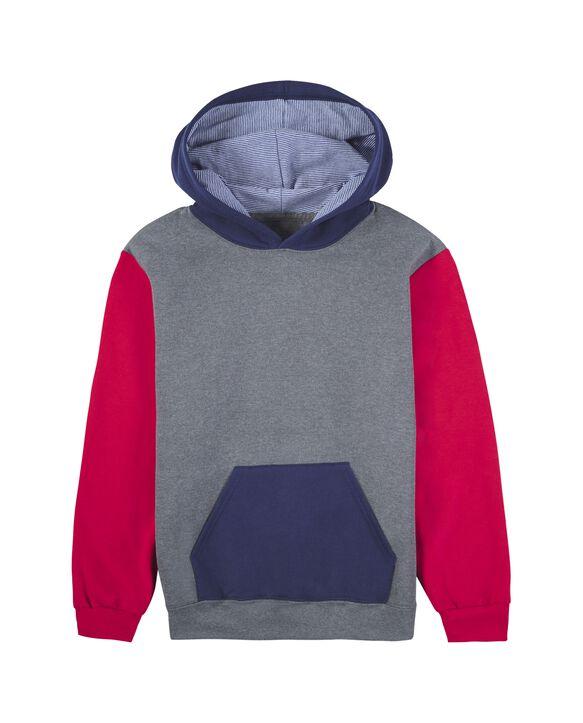 Boys' Fleece Hoodie Sweatshirt, 1 Pack True Red/Charcoal