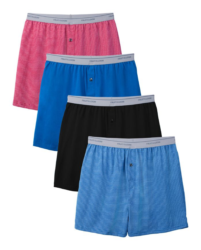 Men's Assorted Knit Boxers Extended Sizes, 4 Pack