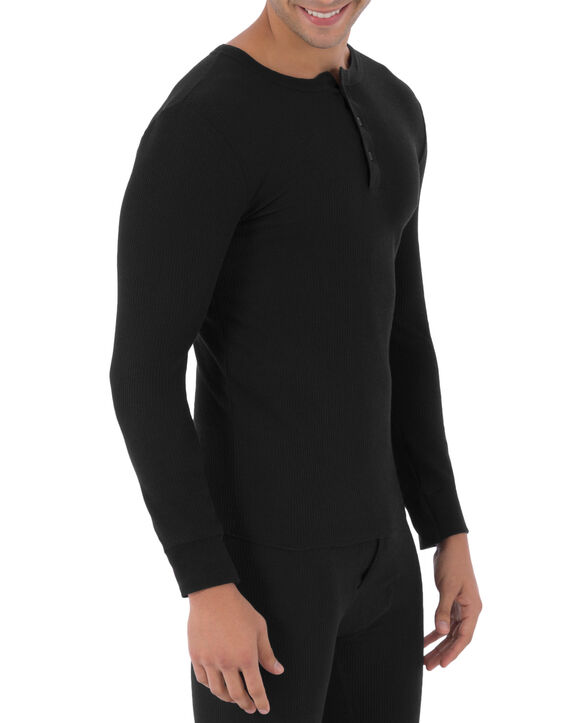 Men's Waffle Thermal Henley Top, 1 Pack BLACK SOOT