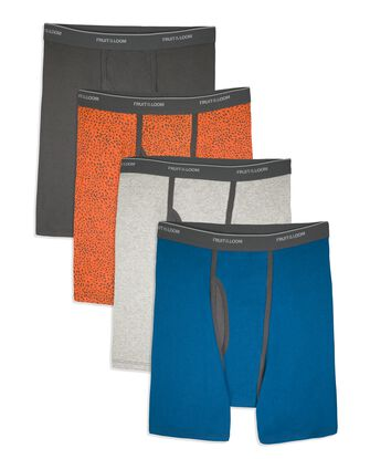 Men's CoolZone Fly Ringer Boxer Briefs, Extended Sizes, 4 Pack
