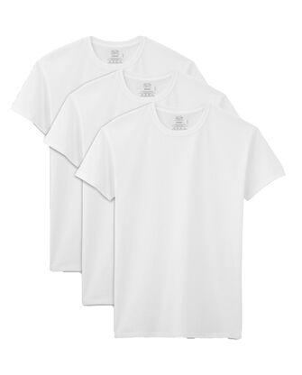 Men's Short Sleeve White Crew T-Shirts Extended Sizes, 3 Pack