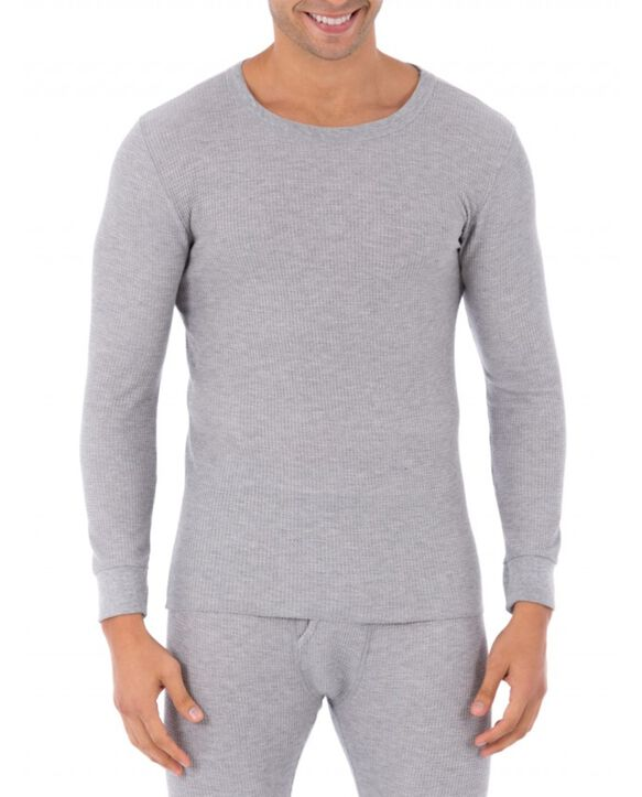 Men's Classic Thermal Underwear Crew Top Light Grey Heather