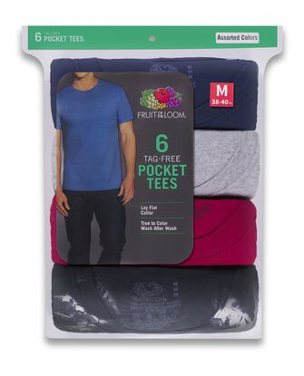 Men's Assorted Fashion Pocket T-Shirt, 6 Pack