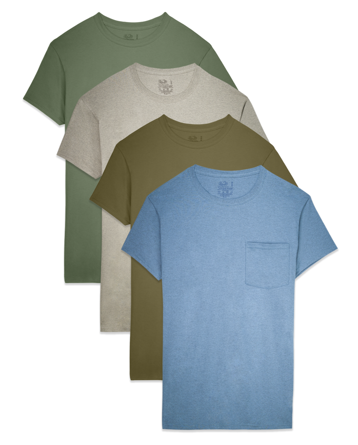 Men's Dual Defense® Assorted Pocket T-Shirts, 4 Pack, Size 2XL