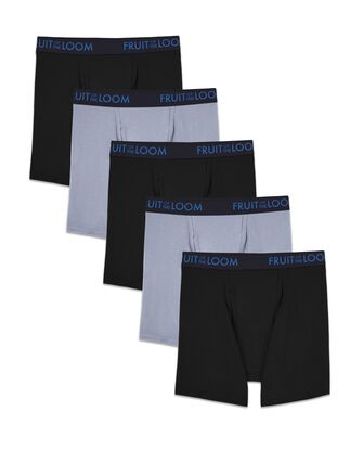 Men's Breathable Cotton Micro-Mesh Black and Gray Boxer Briefs, 5 Pack