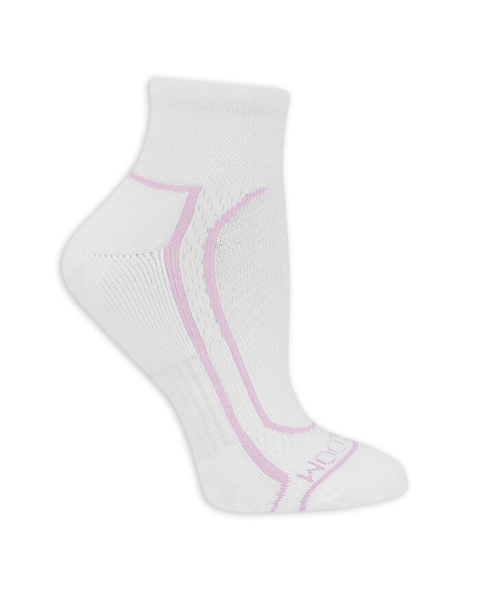 Women's CoolZone Cushioned Cotton Crew Socks, 5 Pack WHITE/LAVENDAR, WHITE/PINK, WHITE/BLUE, WHITE/PURPLE, WHITE/GREY