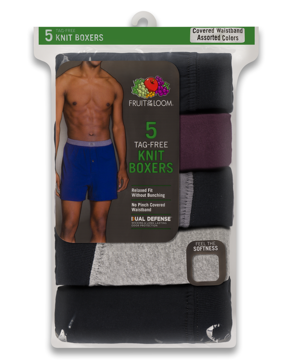 Men's Assorted Knit Boxers, 5 Pack Assorted