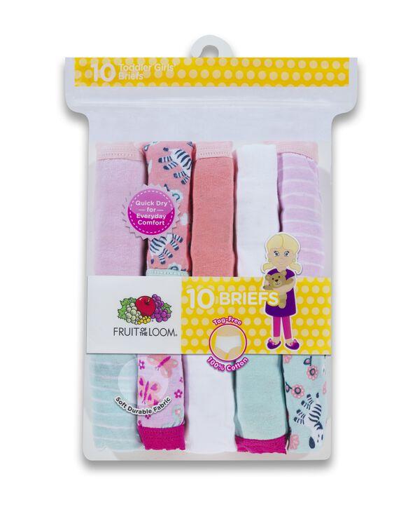 Toddler Girls' EverSoft Assorted Brief Underwear, 10 Pack