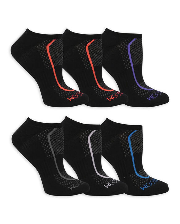 Women's CoolZone Cushioned Cotton No Show Socks, 6 Pack BLACK/PINK, BLACK/GREY, BLACK/PURPLE, BLACK/LAVENDAR, BLACK/BLUE, BLACK/PINK