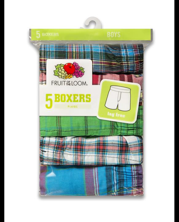 Boys' Tartan Plaid Boxer, 5 Pack ASSORTED