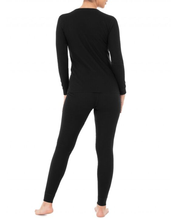 Women's Thermal Crew Top & Bottom Set Black