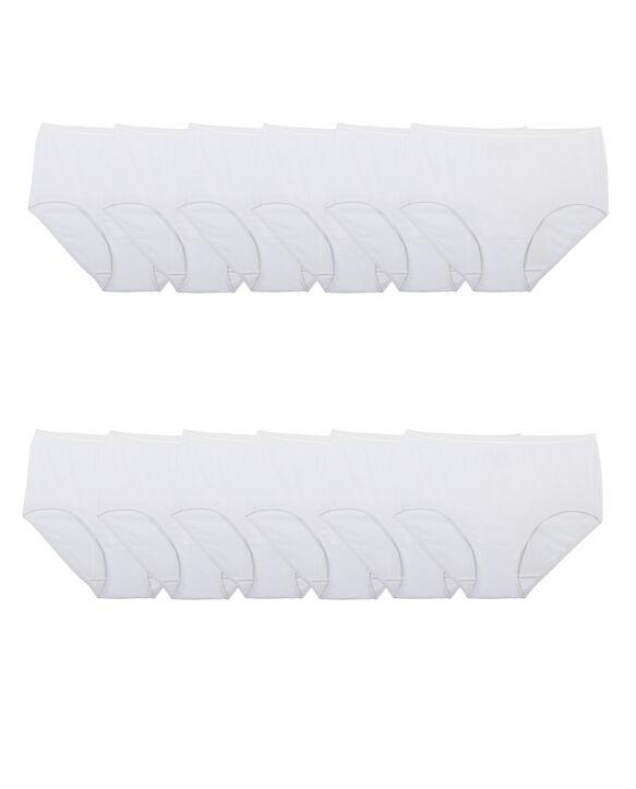 Women's White Brief Underwear, 12Pack WHITE