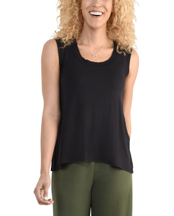 Women's Seek No Further Scoop Neck Shell Tank Top Brilliant Black