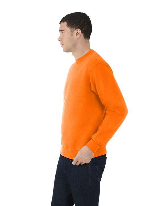 Men's Fleece Crew Sweatshirt, 1 Pack Safety Orange