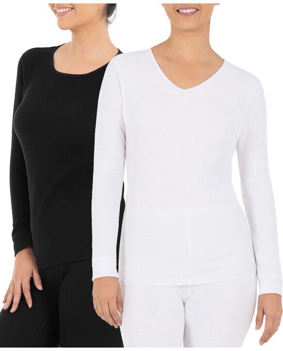 Women's Thermal Crew & V-Neck Top, 2 Pack Black/White